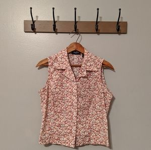 The Limited Floral Sleeveless Button Down Blouse